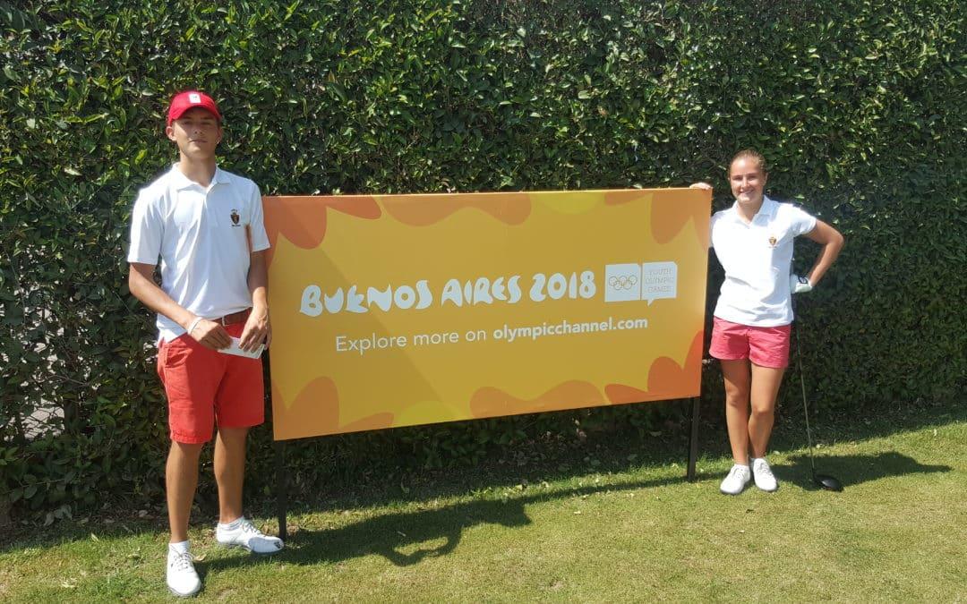 Margaux Appart en Jean de Wouters aan de Jeugd Olympische Spelen